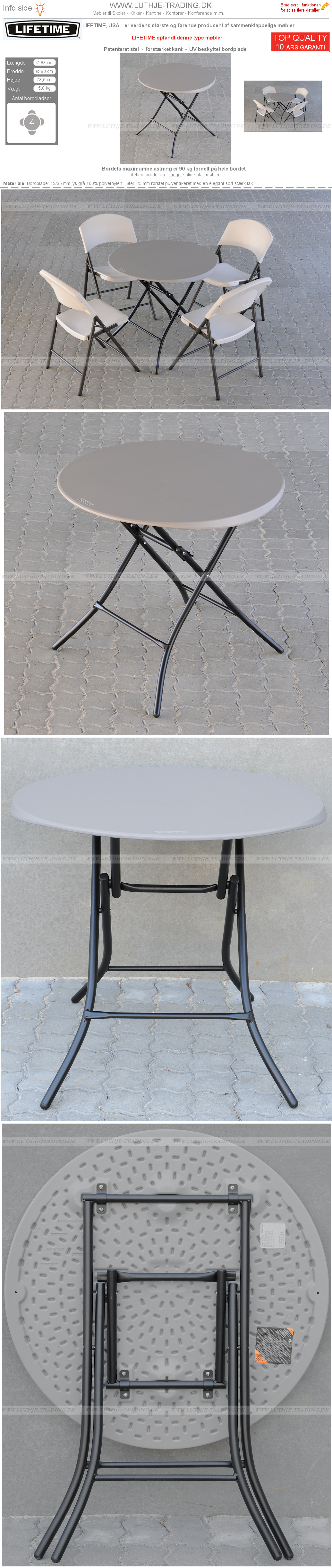 Rundt bord Lifetime Ø83 cm plast med klapstel