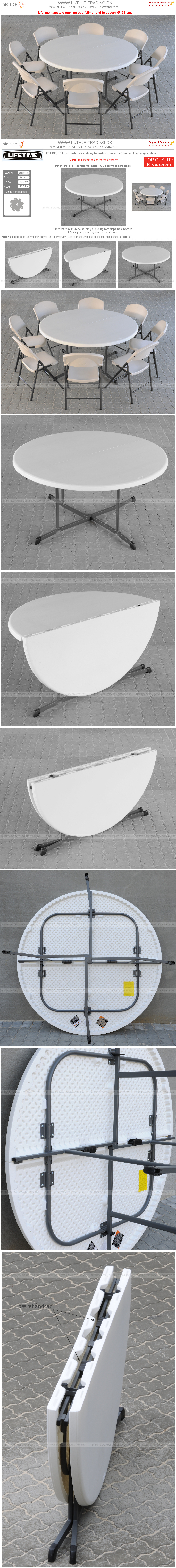 Rundt bord opstilling med Lifetime Ø153 cm fold in half og klapstole