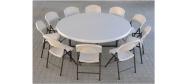 Rundt bord opstilling med Lifetime Ø182 cm og klapstole
