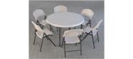 Rundt bord opstilling med Lifetime Ø118 cm og klapstole
