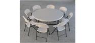 Rundt bord opstilling med Lifetime Ø153 cm og klapstole